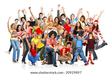 Happy funny people. Isolated over white background - stock photo