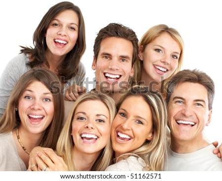 Happy funny people. Isolated over white background