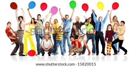 Happy funny people with balls. Isolated over white background - stock photo