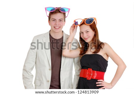 Happy funny  teenagers. Isolated over white background - stock photo