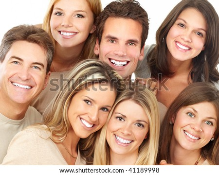 Happy funny young people with great smiles - stock photo