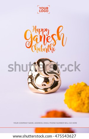 Happy ganesh chaturthi greeting card using stock photo royalty free happy ganesh chaturthi greeting card using photograph of lord ganapati idol m4hsunfo