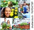 Happy gardening couple collage. People with flowers. - stock photo