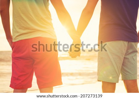 Happy gay couple holding hands watching sunset on the beach - stock photo