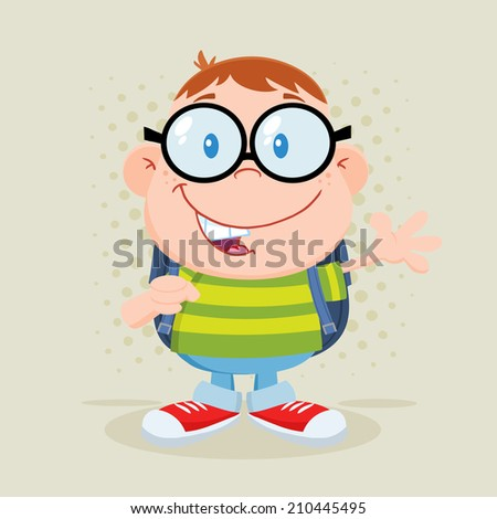 Happy Geek Boy Waving Flat Design With Background. Raster Illustration  - stock photo
