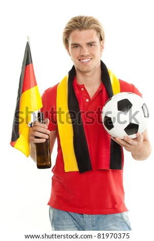 happy german fan - stock photo