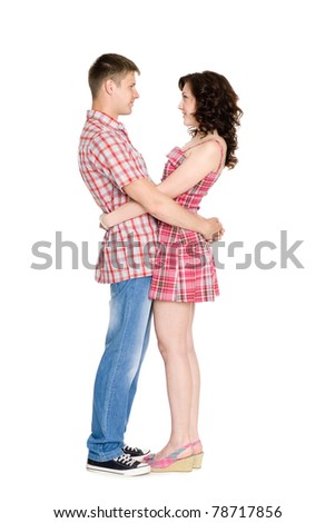 Happy girl and boy isolated on white. - stock photo