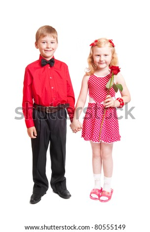 happy girl and boy isolated on white background