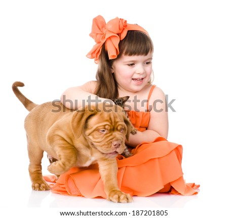 happy girl and her pets - a puppy and a kitten. isolated on white background - stock photo