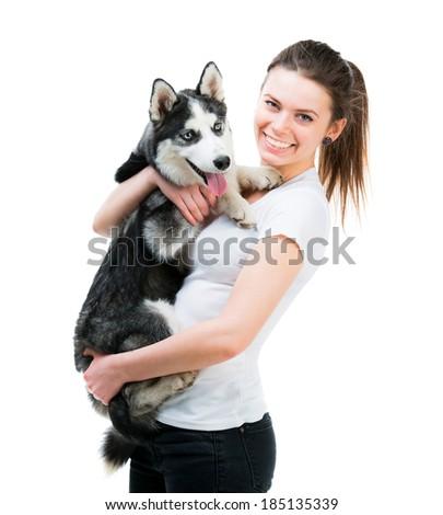 happy girl and husky dog isolated on white background - stock photo