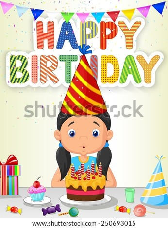 Happy girl blowing birthday candles - stock photo