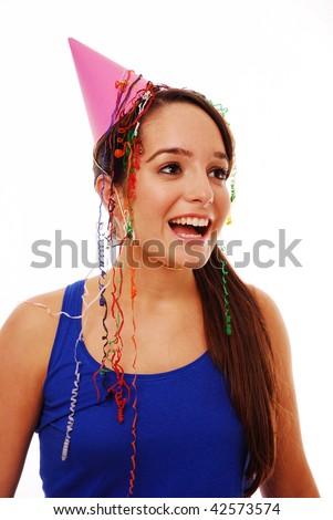 Happy girl celebrating on isolated white background - stock photo