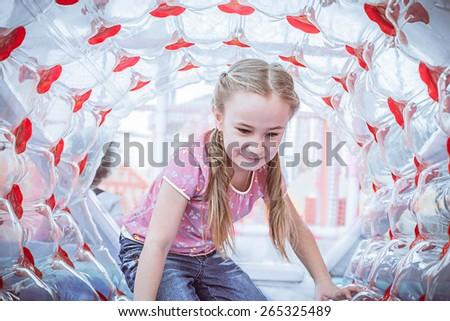 Happy girl enjoying in the Playground - stock photo