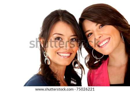 Happy girl friends smiling - isolated over a white background - stock photo