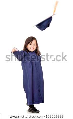 Happy girl graduating and throwing mortarboard - isolated over a white background - stock photo