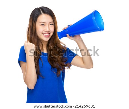 Happy girl hold with megaphone - stock photo