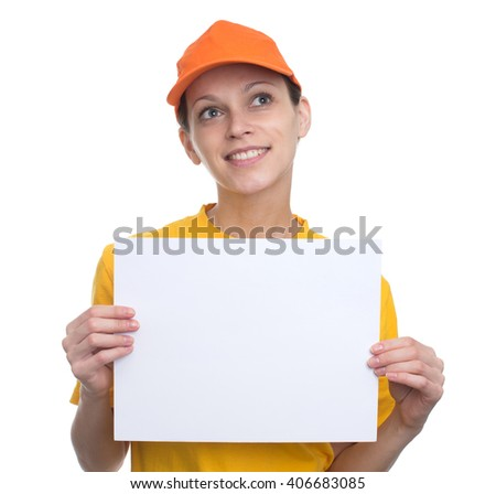 Happy girl holding a blank billboard isolated on white background - stock photo