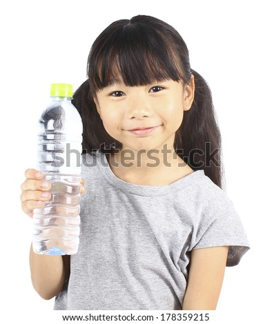 Happy girl holding a bottle of water.  - stock photo