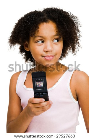 Happy girl holding a mobile phone isolated over white