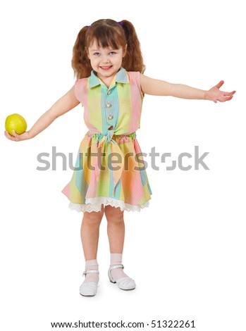 Happy girl holding in hand apple, isolated on a white background - stock photo