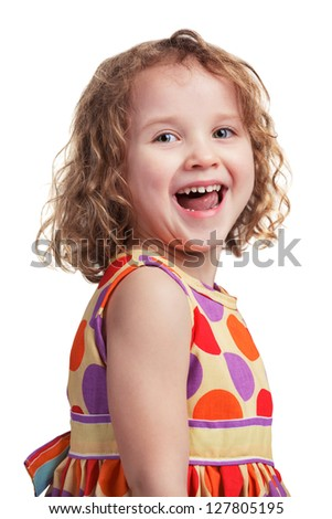 Happy girl in a good mood on white background