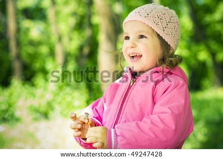 happy girl in hat portrait - stock photo