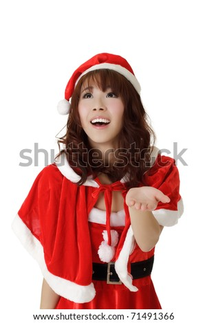 Happy girl in Santa Claus clothes with smiling expression over white background. - stock photo