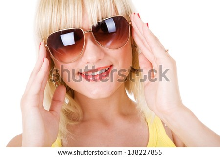 happy girl in sunglasses - stock photo
