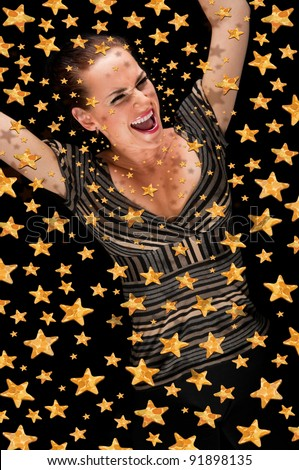 happy girl in the stellar sky - stock photo