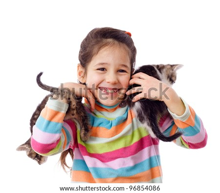 Happy girl is holding a two runaway kittens, isolated on white - stock photo