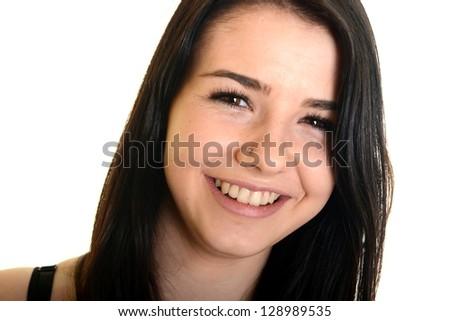 happy girl isolated on white - stock photo