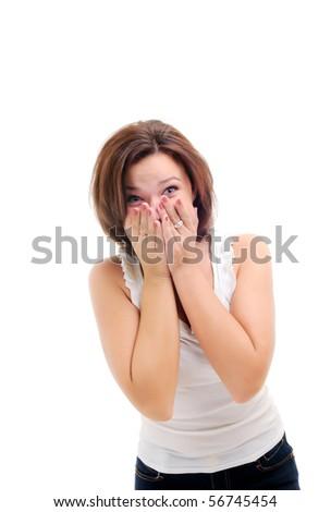Happy girl isolated over white. - stock photo