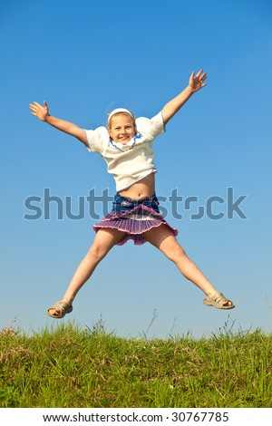 happy girl jump