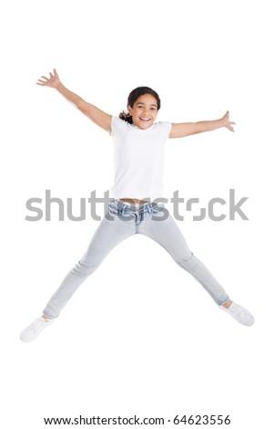 happy girl jumping high - stock photo