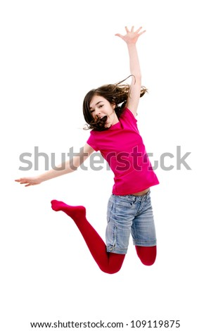 Happy girl jumping isolated on white background - stock photo
