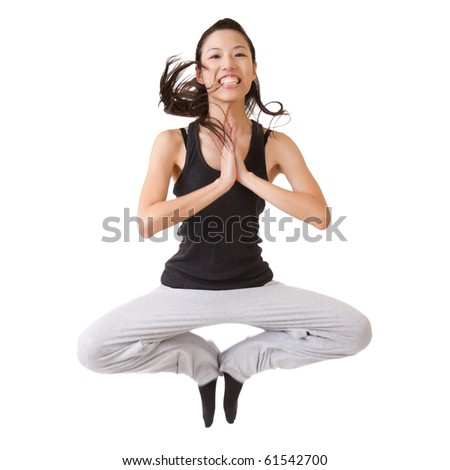 Happy girl jumping with funny pose, isolated on white background. - stock photo