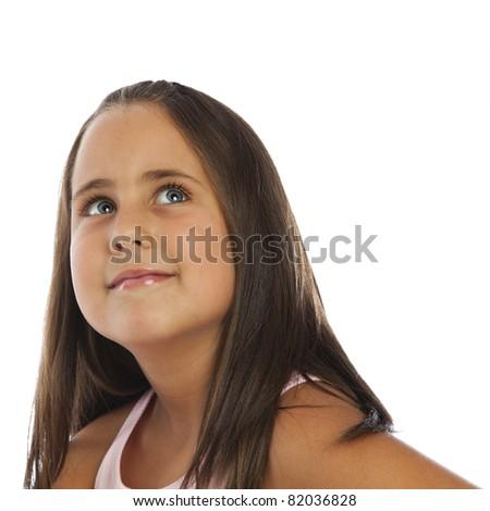 Happy girl looking up - stock photo