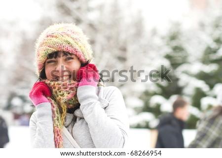 Happy girl on skating-rink - stock photo
