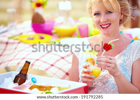 happy girl on summer picnic party - stock photo