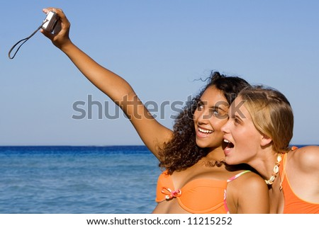 happy girl on summer vacations - stock photo