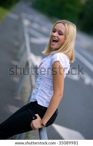 happy girl on the street - stock photo
