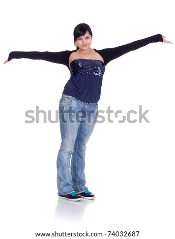 Happy girl on white background. Hands up - stock photo