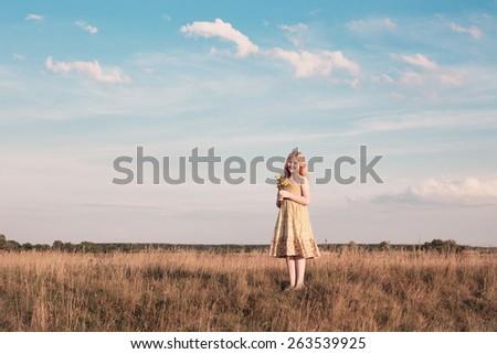 happy girl outdoor - stock photo