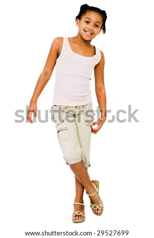 Happy girl posing isolated over white - stock photo