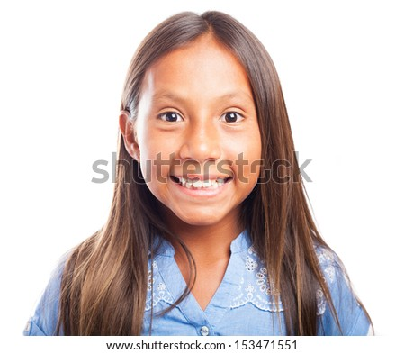 happy girl posing on a white background - stock photo