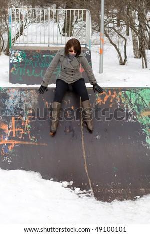 Happy girl walking outdoor - stock photo