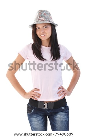 Happy girl wearing hat, smiling, looking at camera.? - stock photo
