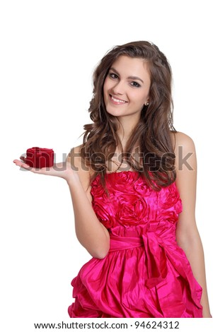 Happy girl with a box in her hand - stock photo