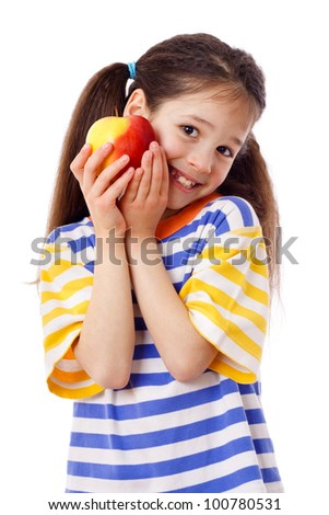 Happy girl with apple, isolated on white - stock photo