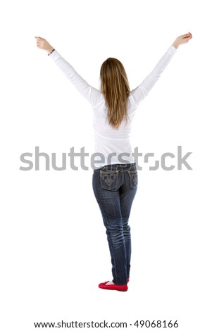 happy girl with arms up isolated over a white background - stock photo